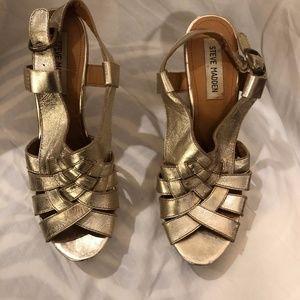 Steve Madden gold strappy heels, sz. 8.5